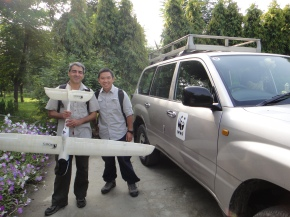 Getting ready for a test flight in Chitwan National Park