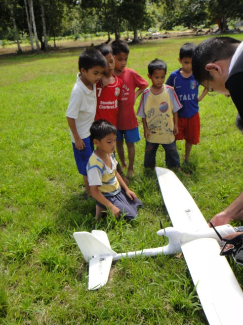 Demonstrating UAV use to local conservation groups and village kids in Sabah