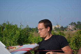 Simon preparing the Vanguard for launch