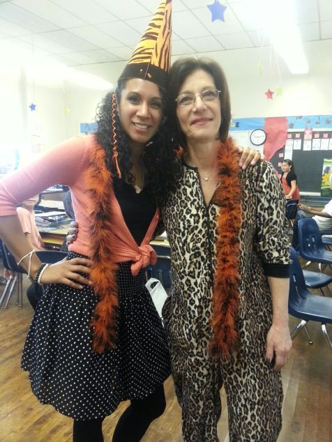 Two teachers on Tiger dress down day